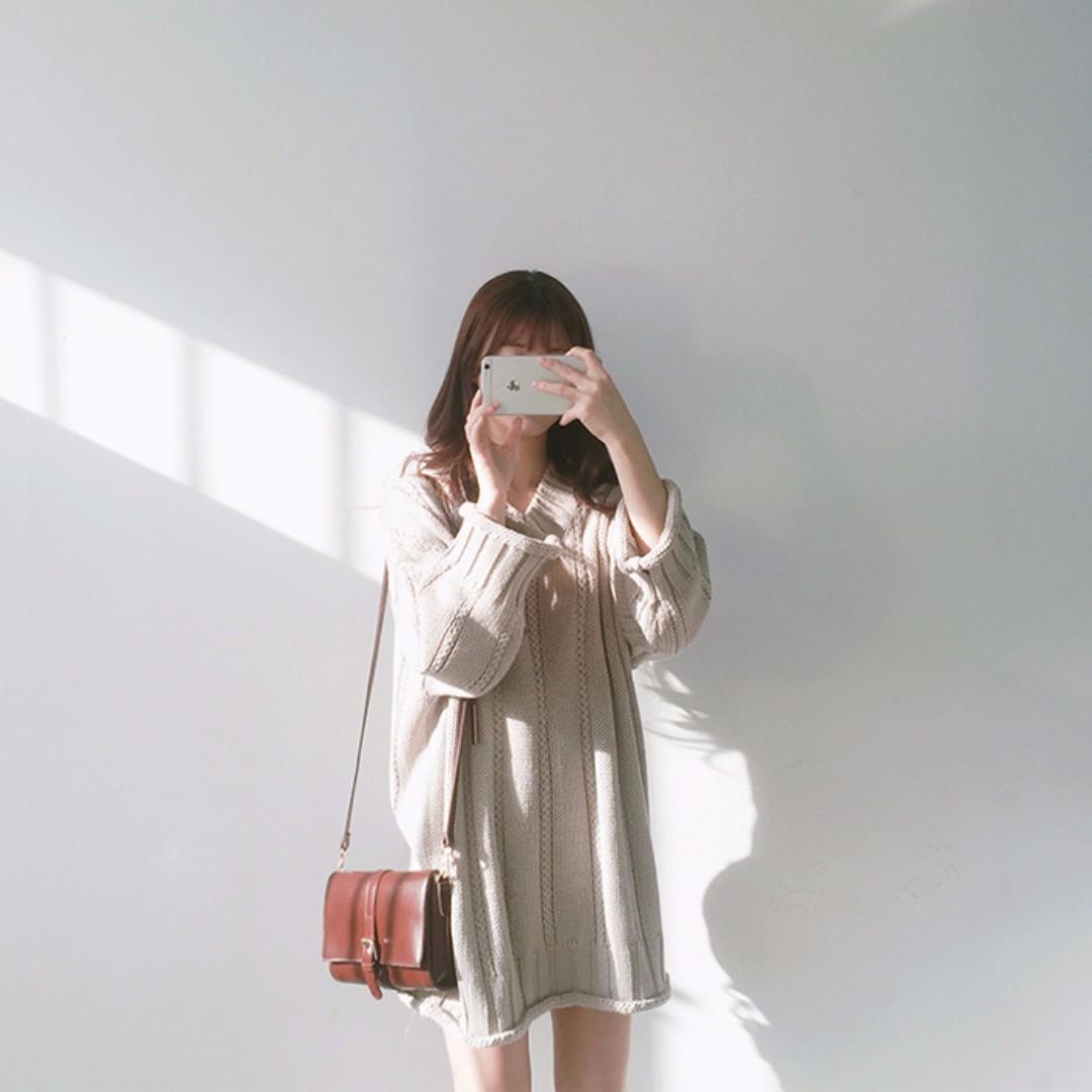 M SELECT 秋新款韓國韓版chic風V領長袖麻花毛線連身裙寬鬆中長款毛衣裙洋裝針織洋裝 pazzo meriq