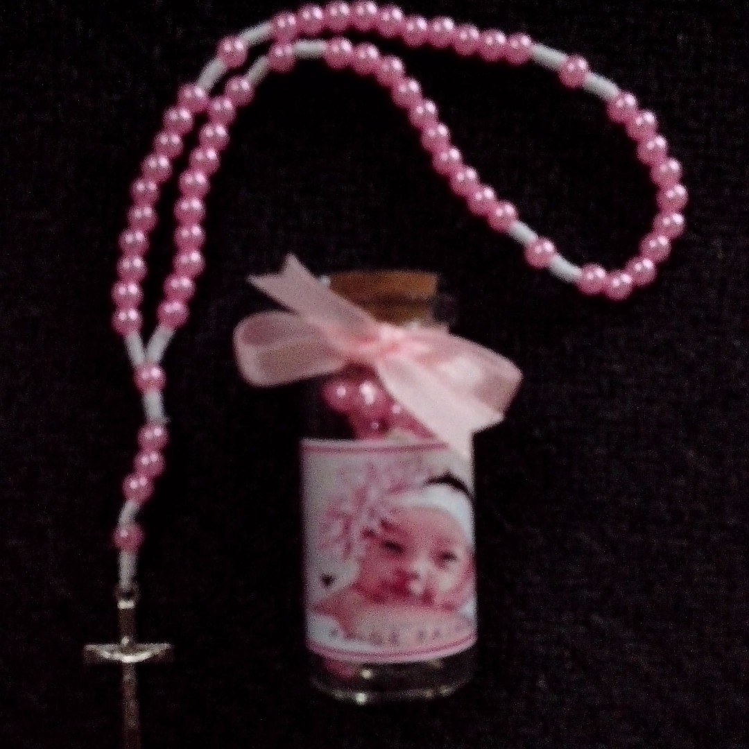 Mini Full Rosary in Corkbottle with print Souvenirs Giveaways for wedding,baptismal,birthday,christening