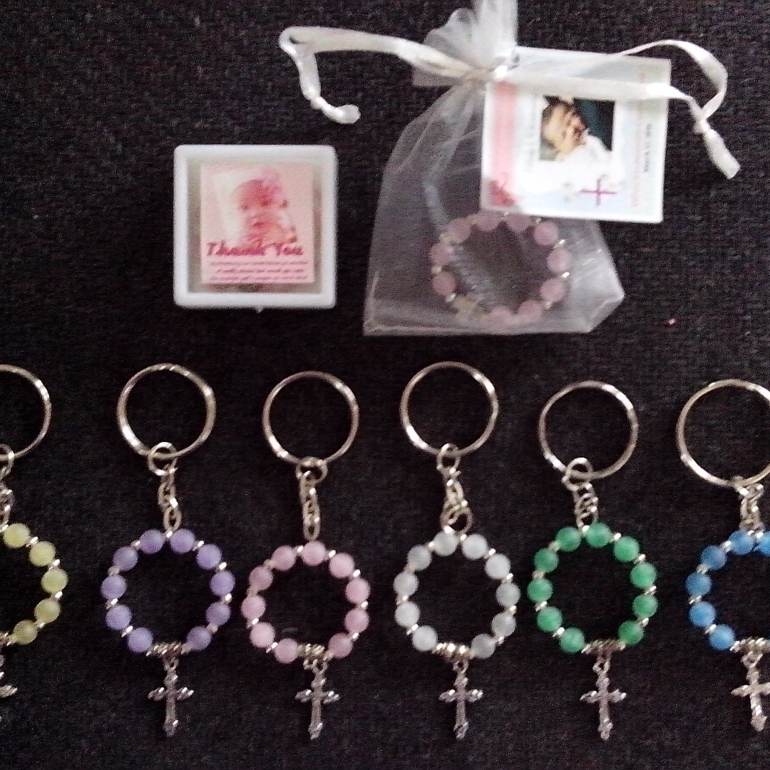 Mini Ring Rosary Keychain Souvenirs Giveaways for wedding,baptismal,christening,birthday