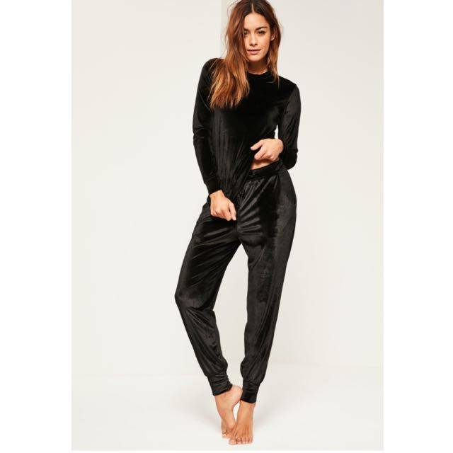 Missguided Black Velvet Two-Piece Tracksuit