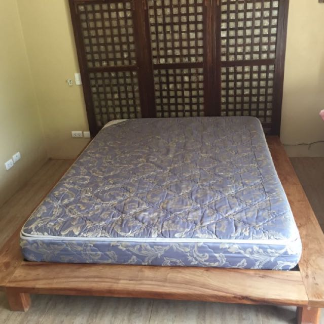 Narra queen size bed frame for sale., Home & Furniture on Carousell