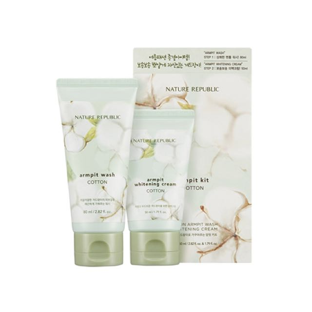 Nature Republic Cotton Armpit Kit  Includes Armpit Scrub Wash 80ml and Armpit Whitening Cream 50ml