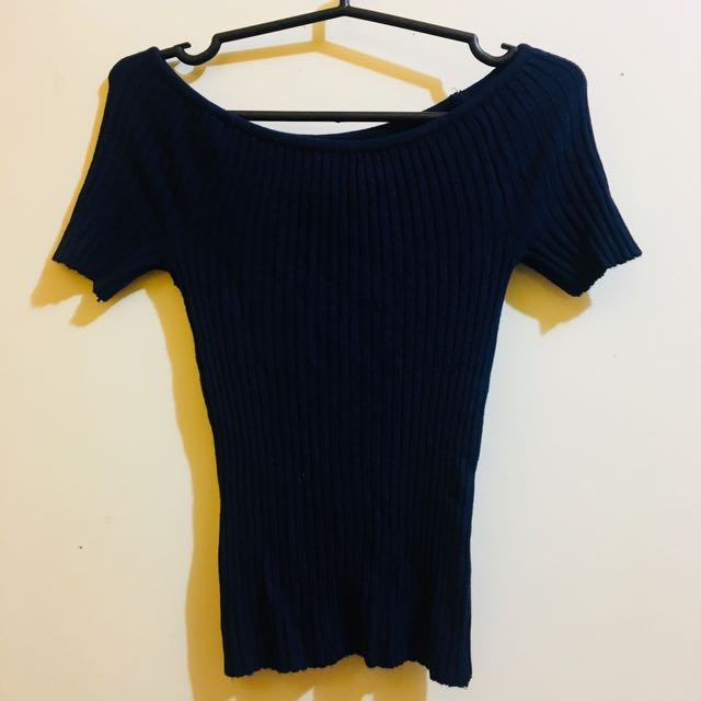 Navy Blue Knit Top