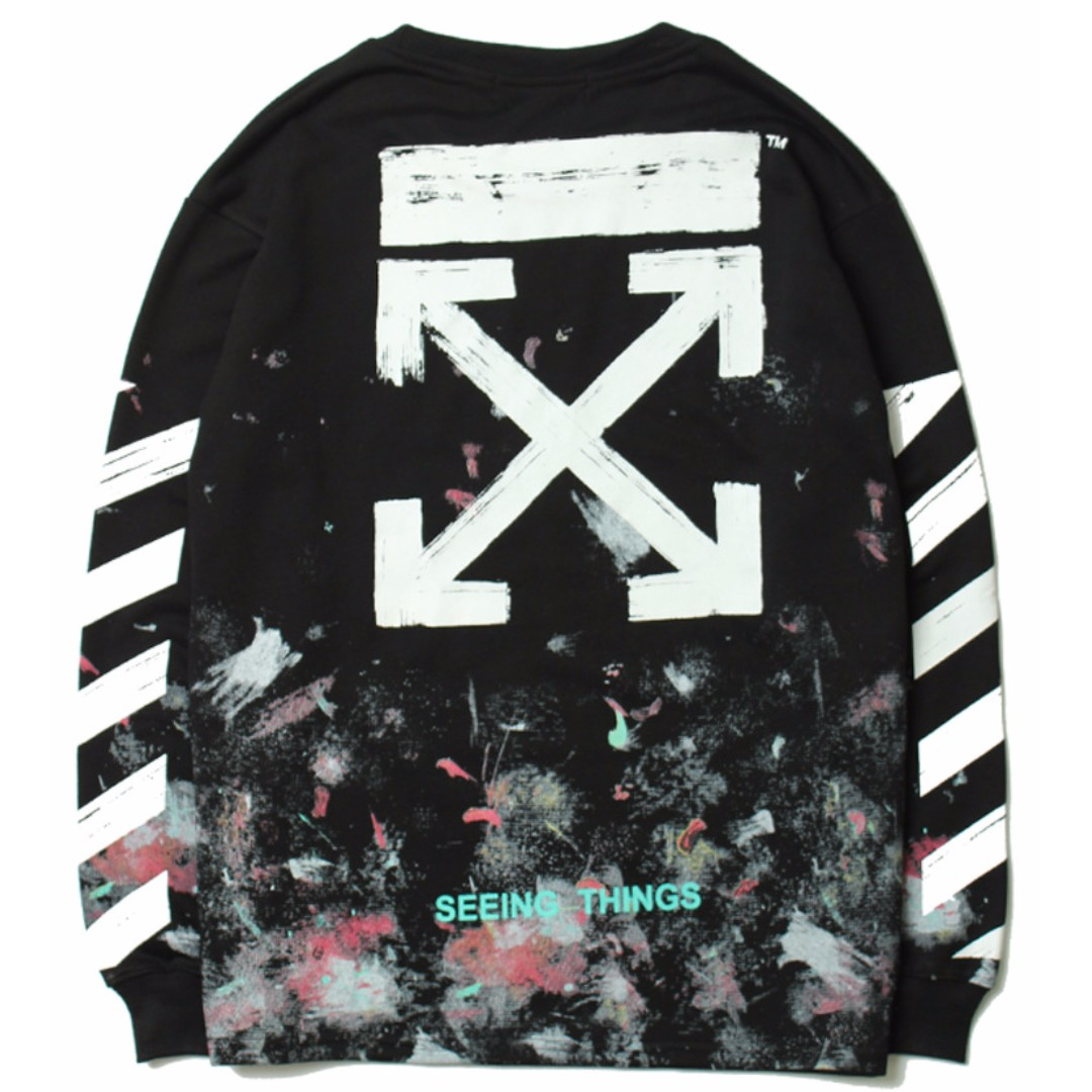 Off White Rainbow Seeing Things Black Long Sleeve Pullover Jacket ...