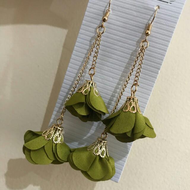 Olive Green Dangling Earrings