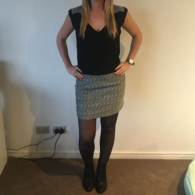 ORFEO PARIS Black and Grey Dress Size Medium