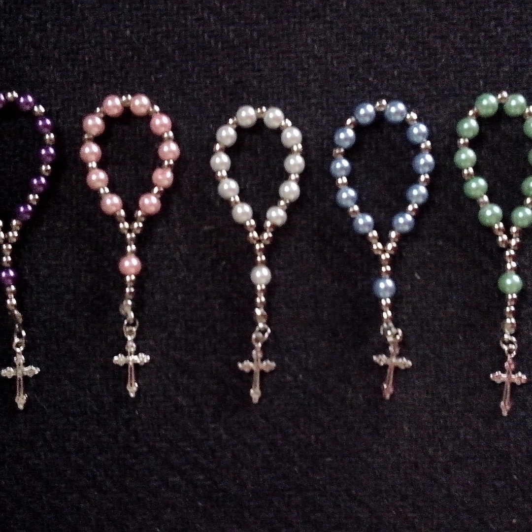 Pearl Mini Rosary Souvenirs Giveaways for wedding,baptismal,birthday,christening