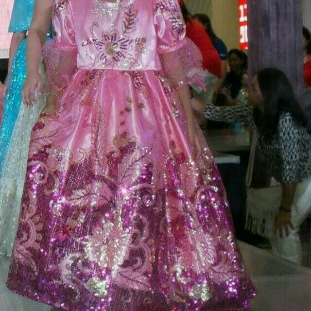Pink Filipiniana Gown(for rent only), Babies & Kids, Girl\'s Apparel ...