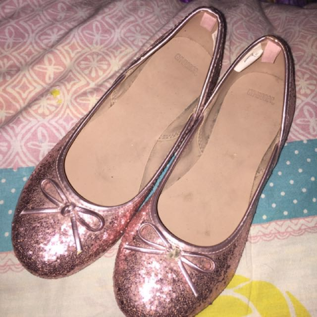 Pink Glittered Doll Shoes