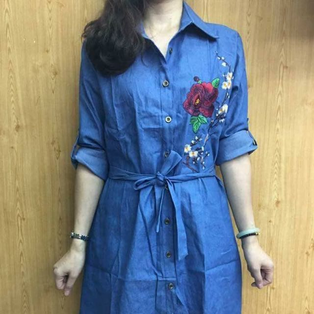 Plus Size Denim Embroidered Polo Dress Womens Fashion Clothes