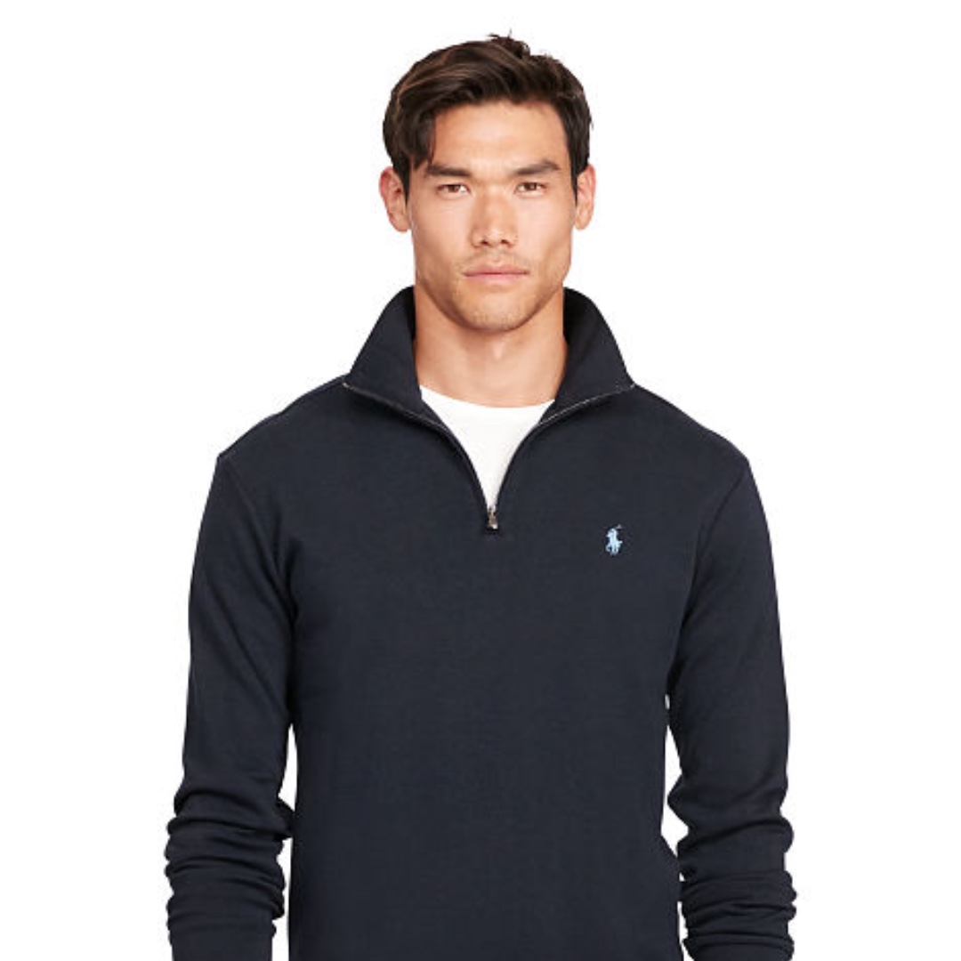 Ralph Sweater Lauren Polo Men's S Half Aviator Navy Cotton Zip Oxapgq1