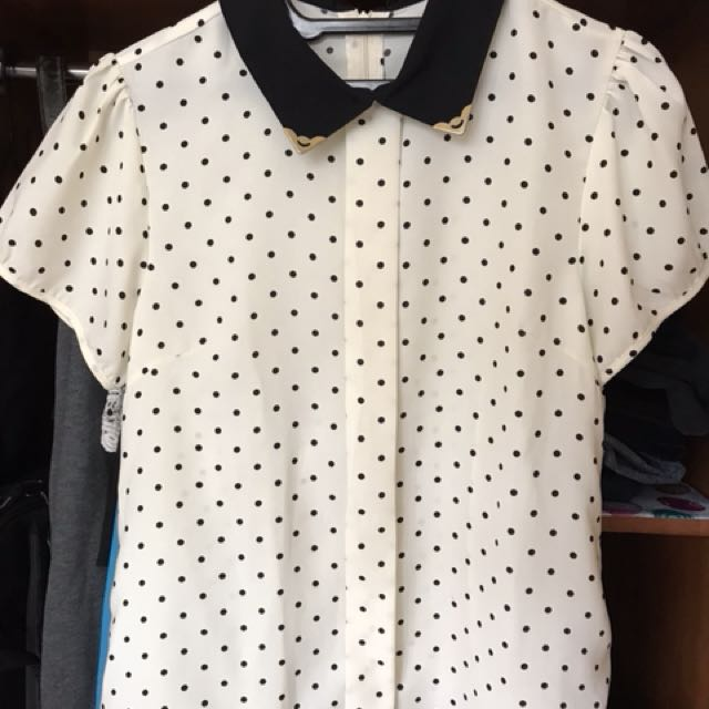 PRELOVED BLOUSE POLKADOT KERAH