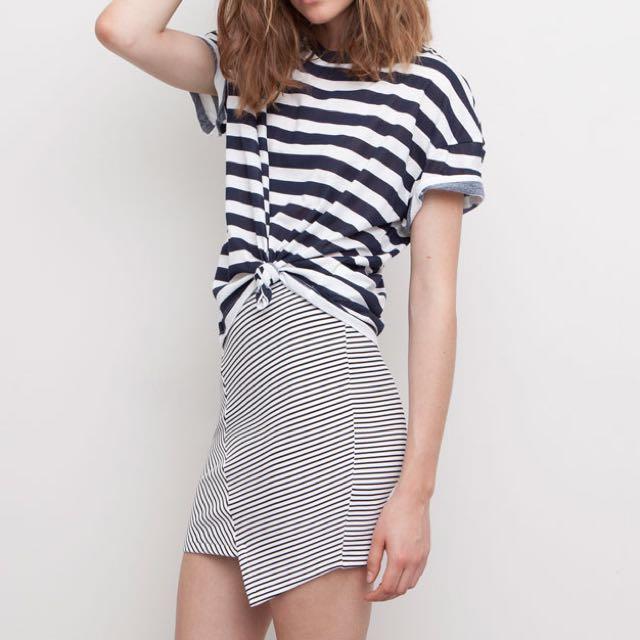 Pull & Bear Asymmetrical Stripe Skirt
