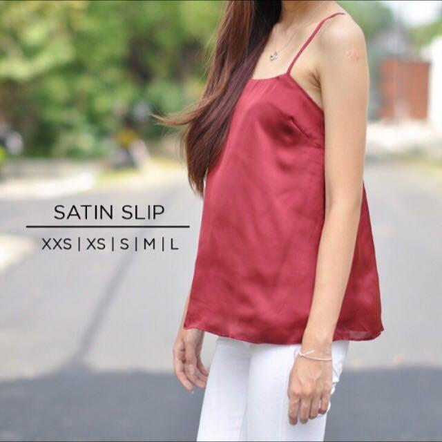 Red/Maroon Satin Slip Cami Top
