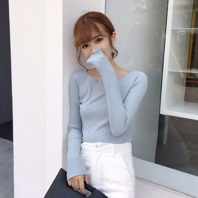 Ribbed blue long Sleeve Top