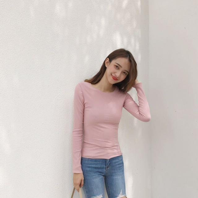 Ribbed Pink Long Sleeve Top