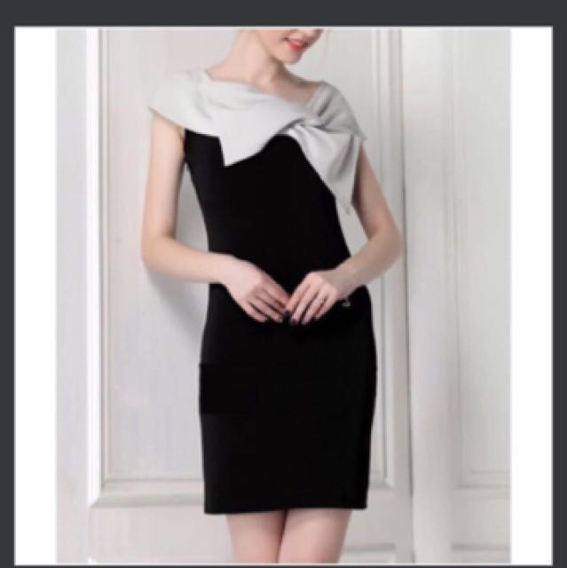 Sabrina Bow black grey dress