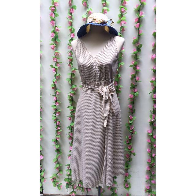 SADI Slant Striped Wrap Dress