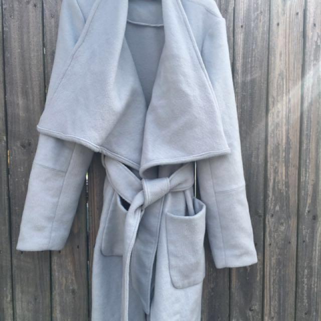 Sheike Size 16 Light Grey Blue Shawl Coat . #carousellmakeover