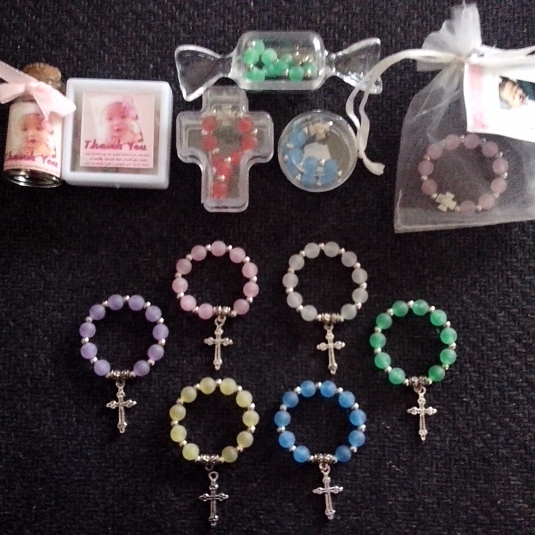 Smoked/Frosted Mini Ring Rosary Souvenirs Giveaways for wedding  baptismal christening birthday
