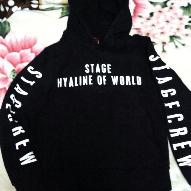 Stage 免運 正版 黑色 口袋 帽t 上衣 知名藝人品牌