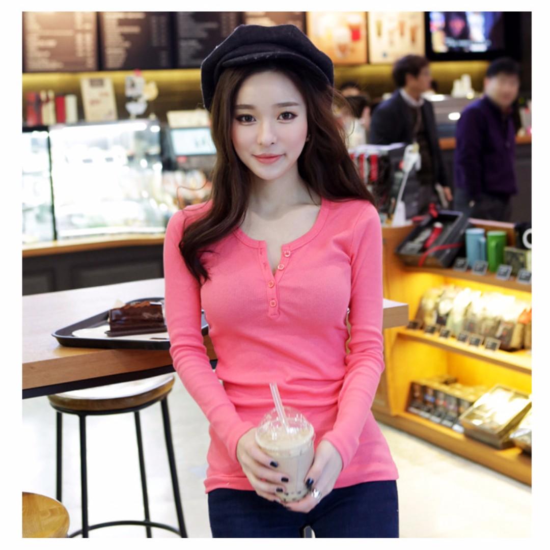 秋冬裝純色螺紋修身顯瘦長袖t恤