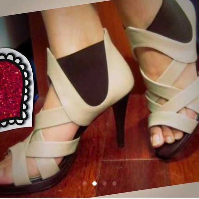 TAS 米色高跟鞋 裸色 編織高給鞋 高跟涼鞋