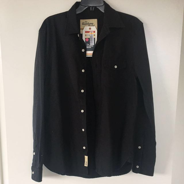 THE ACADEMY BRAND Black Shirt Long Sleeves Men Size Medium Brand New with Tag