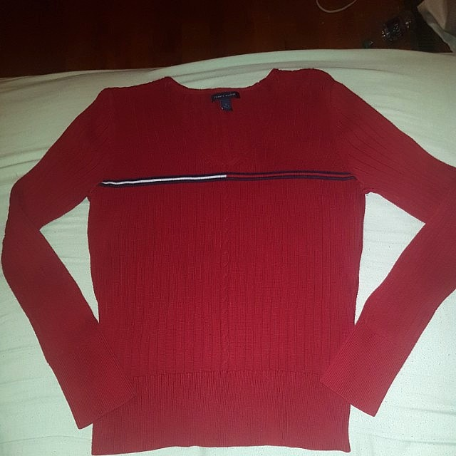 Authentic Tommy Hilfiger Sweater ribbed with logo crew neck classic fit