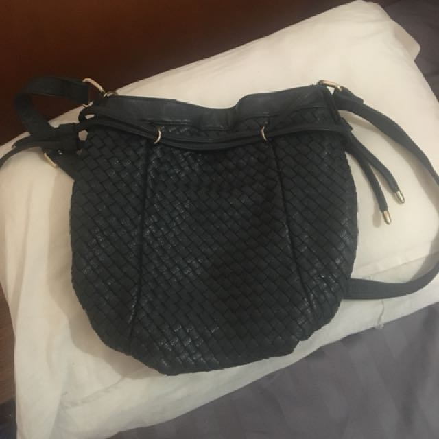 Weaved pleather bag