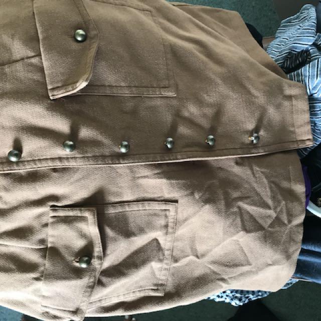 Women's brown dotti button skirt