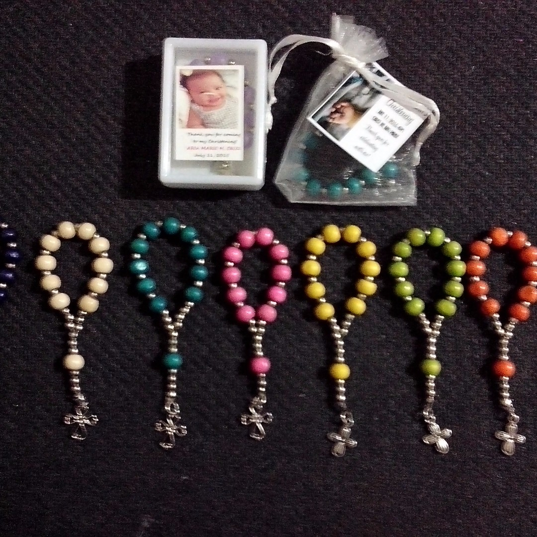 Wood 1Decade Rosary Souvenirs and Giveaways for wedding,birthday,baptismal,christening