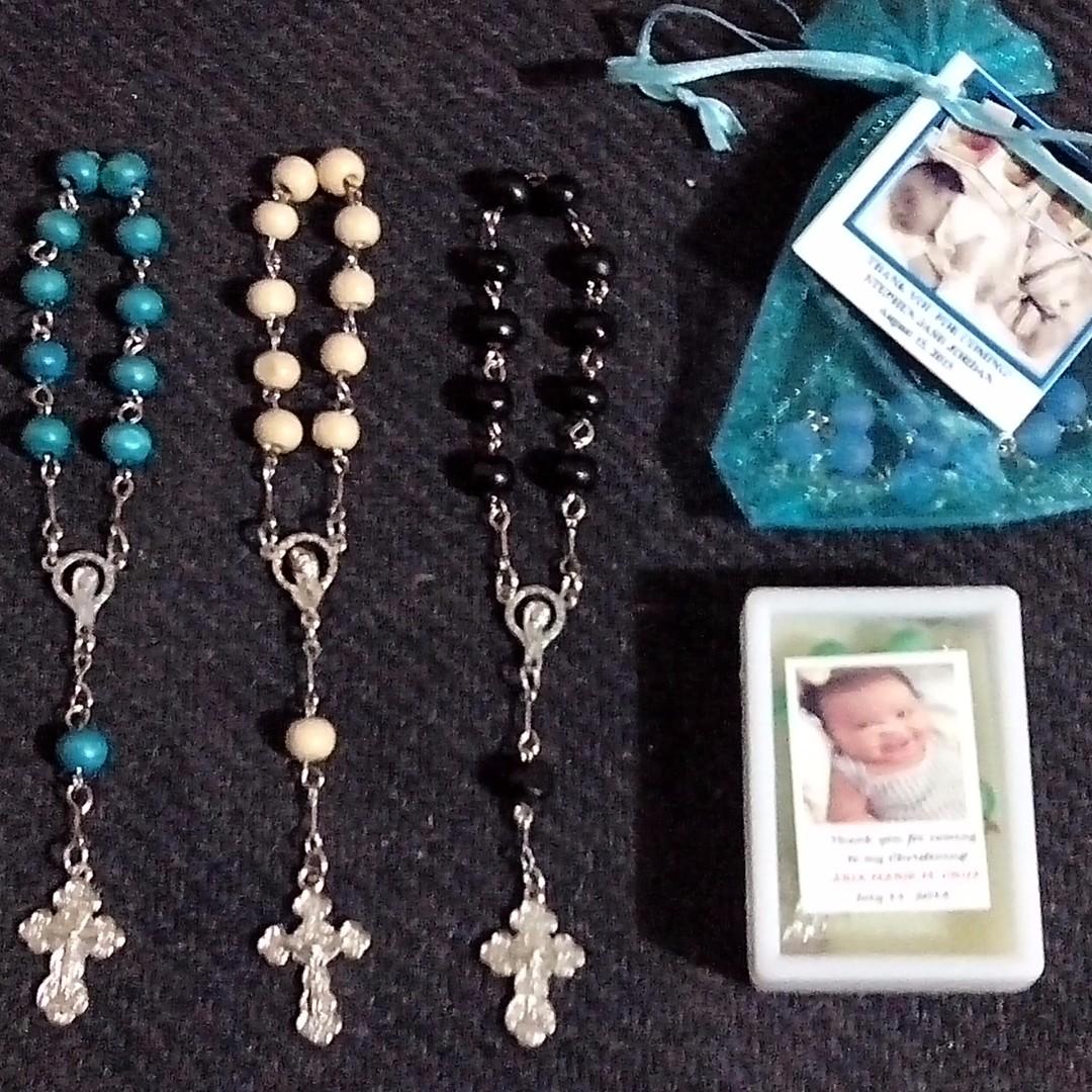 Wood Pocket Rosary Souvenirs Giveaways for wedding, baptismal, christening, birthday