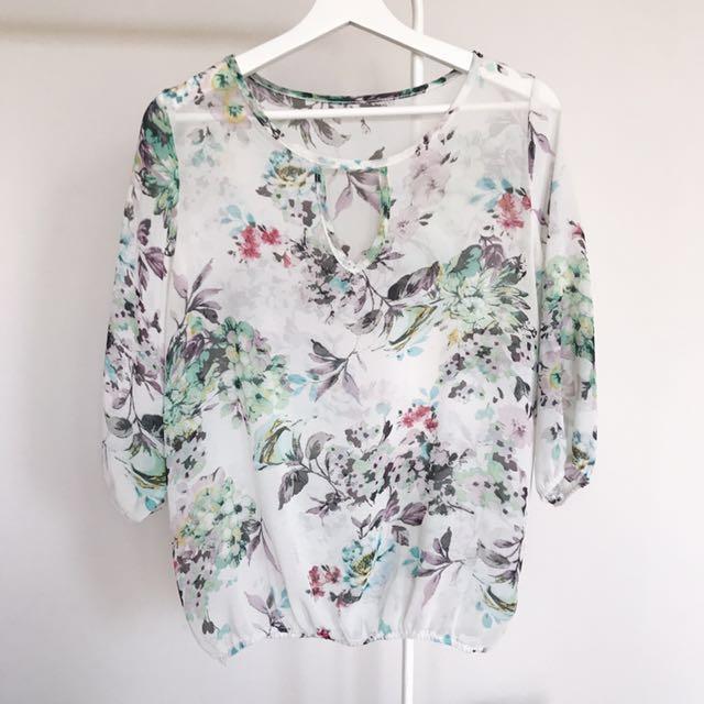 (Worn) White Floral Top