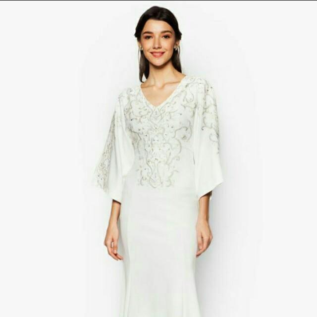 Zalia Embroidered Gold Dress