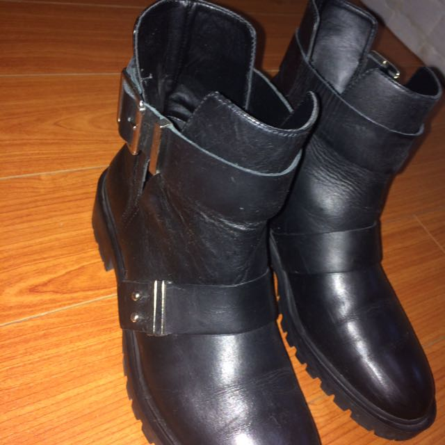 Zara combat boots authentic leather