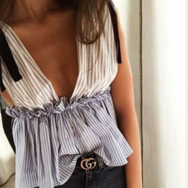 Zara Contrast Stripe Top Size M