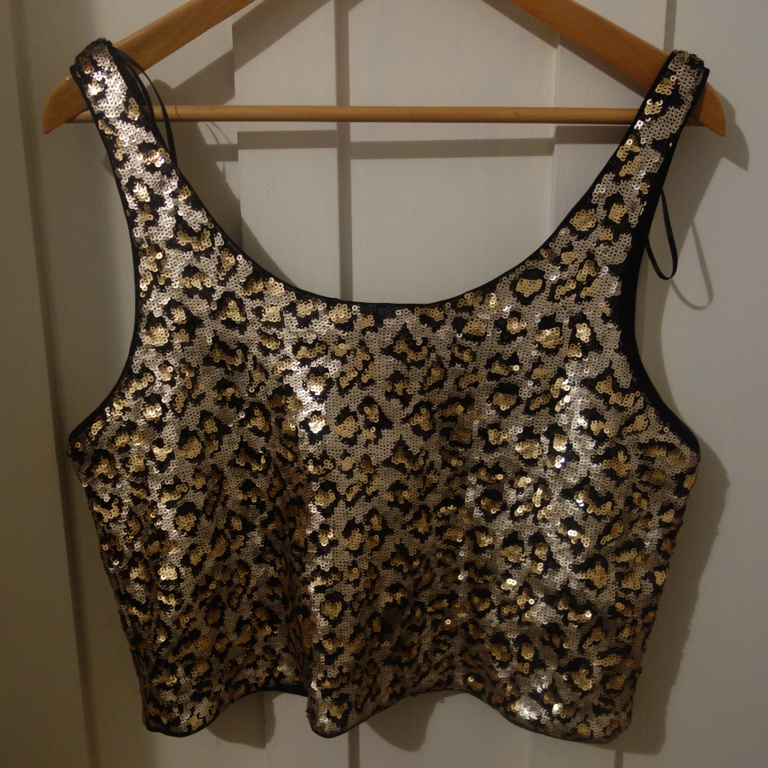 Zara cropped animal print sequin top - size L