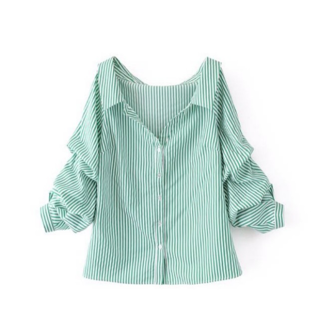 32452970 zara inspired green stripes shirt bubble sleeves, Women's Fashion, Clothes,  Tops on Carousell