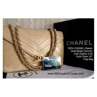 "100% CHANEL Classic Gold Beige Chevron Calf Leather 2.55 Gold Chain 10"" Flap Bag"