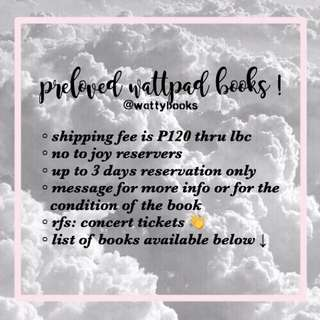 PRELOVED WATTPAD BOOKS
