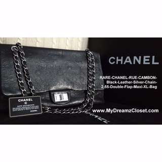 RARE-CHANEL-RUE-CAMBON-Black-Leather-Silver-Chain-2-55-Double-Flap-Maxi-XL-Bag