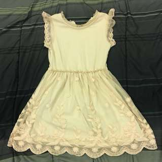 Zara girl dress cream colour