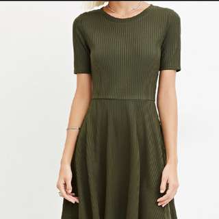 Forever 21 Army Green fit and flare dress