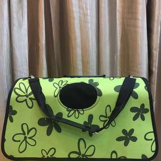 [L Size] Green flower pets carrier
