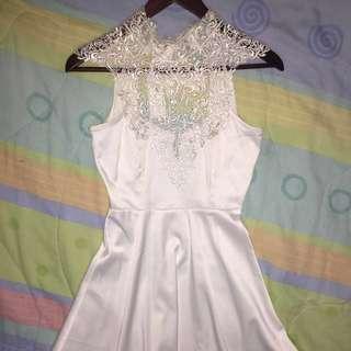 White high neck crochet dress