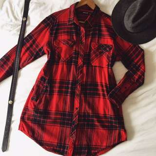 Plaid Flannel Dress / Top