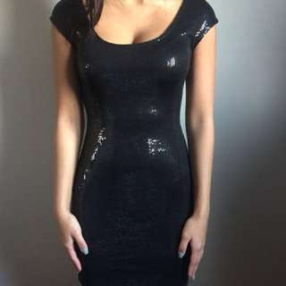 New Dynamite Black Sequin Dress