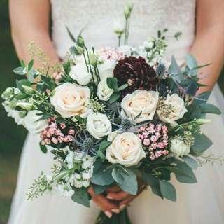 Garden Design Bouquet in Ivory Roses / Pastel Bridal Bouquet / Rustic Bridal Bouquet