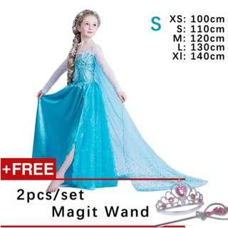 Kids Cosplay Castillo Elsa Dress Custom Made Movie Princess girls Frozen Costumes ( S : 110 cm Height )